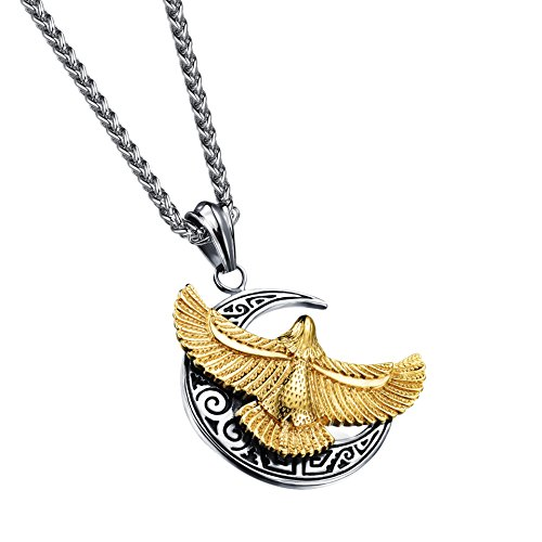316L Stainless Steel Iron Cross Eagle Pendant Necklace for Men Gold (Steel Iron Cross)