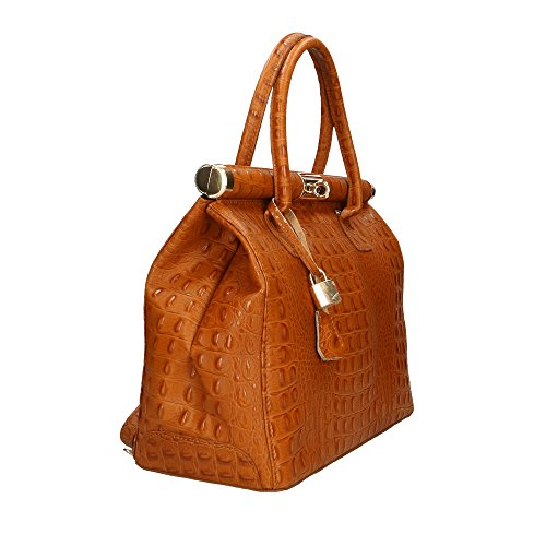 main à 32x26x14 cuir en in Sac véritable Aren femme Made Italy Cm Bronzage qZw5TExC