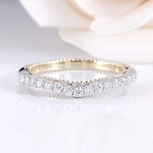 DovEggs 14K Two Tones Gold Moissanite Engagement Rings Half Eternity Anniversary Wedding Band for Women