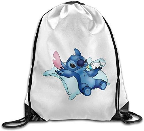 engzhoushi Mochila de Cuerda,Bolsa de Cuerdas Lilo Stitch Cute Baby Design Funny Logo Gym Bag Drawstring Backpack