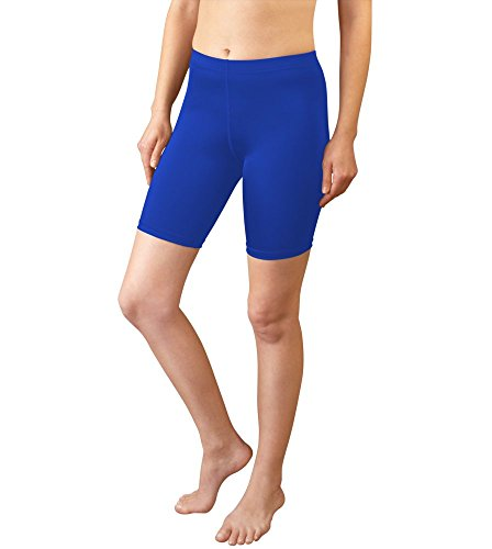 (AERO|TECH|DESIGNS Women's Spandex Exercise Compression Running, Yoga, Workout Fitness Shorts Royal Blue)