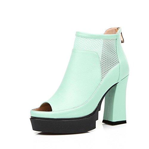 AllhqFashion Women's Peep-Toe High Heels Soft Material Solid Zipper Sandals Blue
