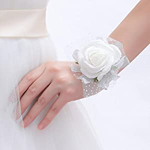 One One Bridal Wedding Bridal Women Girl Bridesmaid Exquisite Floral Hand Wrist Flower 2