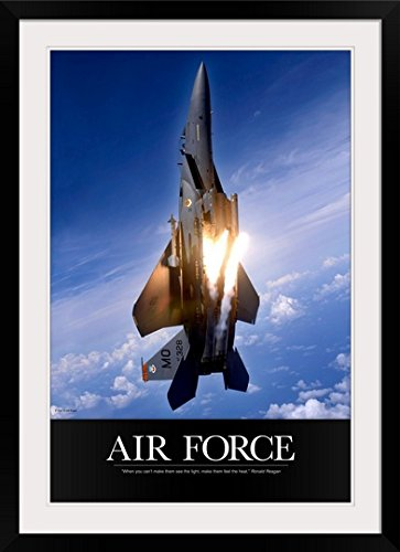 - greatBIGcanvas Military Poster: An F-15E Strike Eagle Pops Flares by Kate Lillyson Photographic Print with black Frame, 24
