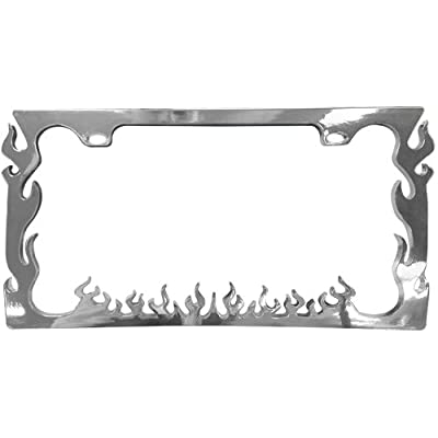 Custom Accessories 92591 Chrome Flame ABS License Plate Frame: Automotive