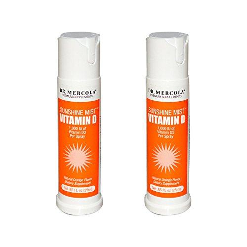 Dr. Mercola Sunshine Mist 5000 IU Vitamin D3 Spray - 2 Bottles - 0.85 Fl. Oz. - Supports Bone Strength, Immune Health and Vitamin D Deficiency Relief