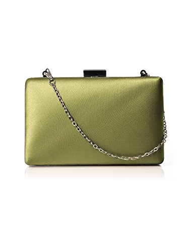 Women's Matte Satin Hard Case Pill Box Clutch with Optional Chain by Dessy - Citron (Hard Case Satin Clutch)