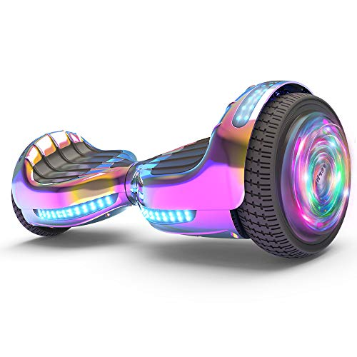 "Hoverboard UL 2272 Listed Flash Wheel 6"" Bluetooth Speaker with LED Light Self Balancing Wheel Electric Scooter (Chrome Rainbow)"
