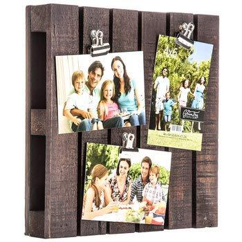Home Treasures Dark Walnut Wood Pallet Collage Frame