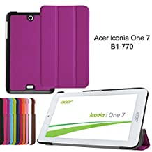 7inch Acer Iconia One 7 B1-770 Sleeve,Acer Iconia One 7 B1-770 Slim Case,PU Leather Outer Cover Case with Kickstand for Acer Iconia One 7 B1-770 Leather Cover-Purple