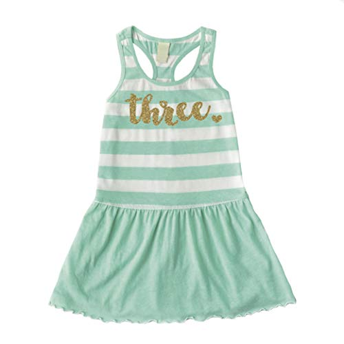 Bump and Beyond Designs Third Birthday Outfit Girl Three Year Old 3rd Birthday Summer Tank Dress Green ()