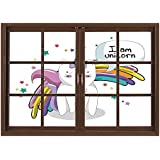 SCOCICI Peel and Stick Fabric Illusion 3D Wall Decal Photo Sticker/Unicorn Cat,Fairy Animal with Ice Cream Cone Bow Stars and Rainbow Kids Imagination Fiction Decorative,Multicolor/Wall Sticker Mural