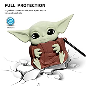 Airpods 1&2 Charging Case Cover | Cute Cartoon Airpods Case | Silicone AirPod Cover with Keychain | Cute Earbud Case Airpods for Kids Teens Girls Boys (Yoda Baby) [Patent Registered]