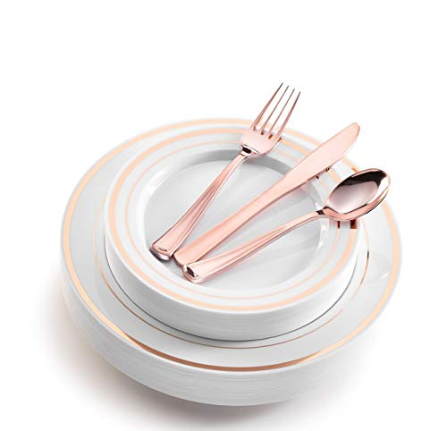 125 Piece Rose Gold Rimmed White Plastic Plates with Rose Gold Plastic Silverware - 25 Dinner Plates, 25 Appetizer Plates, 25 Rose Gold Forks, 25 Rose Gold Spoons, 25 Rose Gold Knives (Rose Gold Rim)