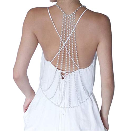 1PCS Exaggerated Sexy Imitation Pearls Backdrop Necklace Multi-Layer Long Tassel Body Chain Backless Dress Accessories Decoration Ornaments for Women Girls Wedding Brides and Prom