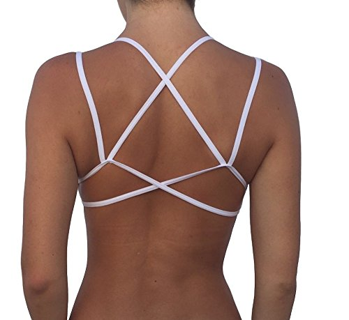 Women's Junior Sexy Variety Double Strap Criss-Cross Back Bralette (Multi Strap (White)) (Strap Multi White)