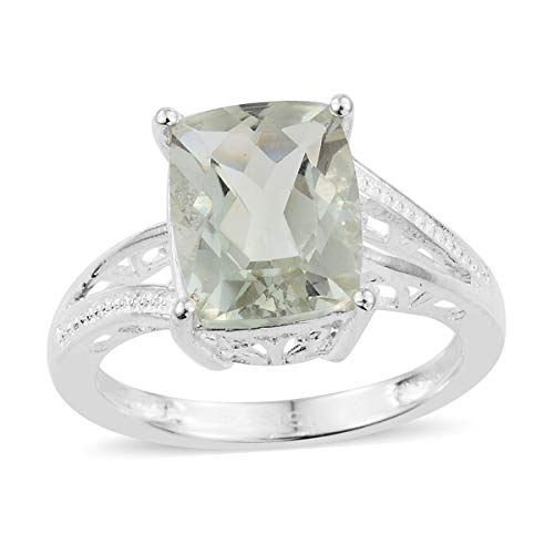 - 925 Sterling Silver Cushion Green Amethyst Engagement Ring for Women Size 7 Cttw 2.2