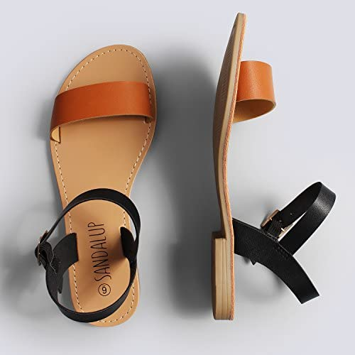 SANDALUP Women's Soft Faux Leather Open Toe and Ankle Strap Buckle Flat Sandals