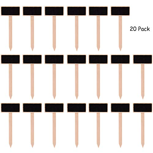 Mini Garden Stake - JUSTDOLIFE 20PCS Mini Chalkboard Signs Wooden Plant Tags Garden Labels with Stakes
