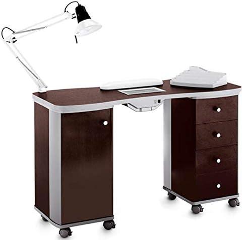 Mesa de manicura Wengé con aspirador de polvo – Lámpara LED – Reposamanos y esmaltes y gel Artecco: Amazon.es: Hogar