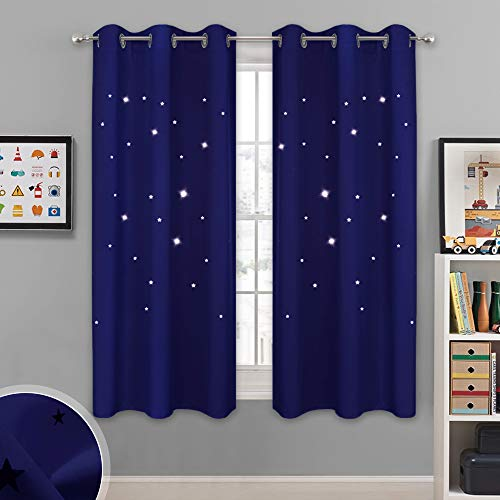 NICETOWN Starry Sky Curtains for Nursery - Navy Grommet Design Window Treatment with Star Cut Outs Design, Block Out Light Drapes/Blinds for Kids Room (42W X 63L, 1 Set, Navy Blue)