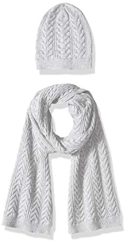Amazon Essentials Women's Cable Knit Hat and Scarf Set, Light Grey Heather, One Size (Womens Thick And Hat Scarf Set)