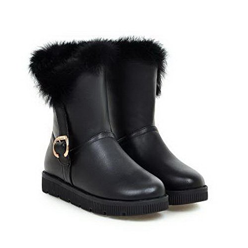 BalaMasa Womens Fringed Mid-Calf Metal Buckles Urethane Boots ABL10635 Black NyvAR8Y