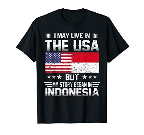 May Live in USA Story Began in Indonesia Flag T-Shirt