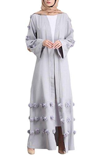 Rappezzatura Arabo donne Coolred Grigio Anteriore Tinta Vestito Unita Abiti In Musulmano Aperta Partito 6cH5wpr5q