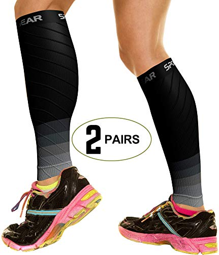 2 PAIRS Calf Compression Sleeve for Men & Women, Best Footless Socks for Shin Splints & Leg Cramps, Calves Circulation Remedy, Support Stockings, Running, Basketball Lycra Tights – BLK & GREY S/M/L