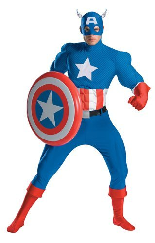 Captain America Deluxe Adult Muscle Costume - X-Large -