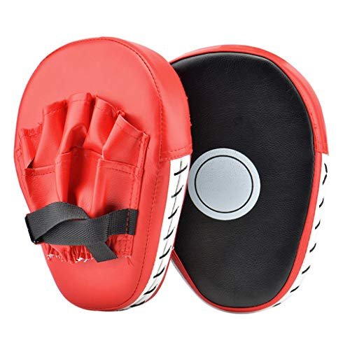 (Transer- Essential Curved Boxing MMA Punching Mitts Taekwondo Kick Pad Boxing Karate Pad Focus Target Karate Kicking Shield Martial Art Kickboxing Punch Mitts Muay Thai Kick Shield Training (Red))