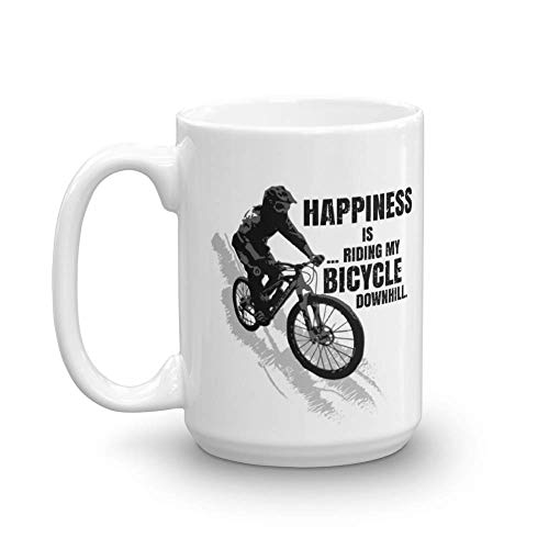 Happiness Is Riding My Bicycle Downhill Distressed Coffee & Tea Gift Mug for a Mountain Bike Rider and Cup Gifts for Men & Women Cyclist (15oz)