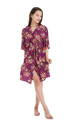 Missfashion Womens Cotton Kimono Robe Floral Wedding Nightgown (L,Purple)