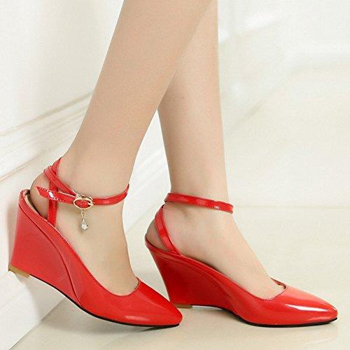 COOLCEPT Mujer Moda Al Tobillo Sandalias Cerrado Tacon de Cuna Slingback Zapatos Rojo