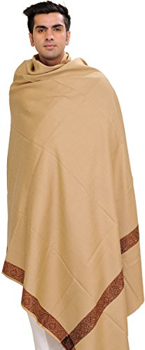 Exotic India Plain Men's Shawl with Brown Woven Border - Color Almond Buff (Woven Plain Scarf)