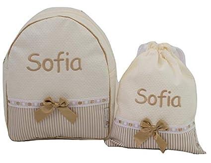 Conjunto guardería o Colegio: Mochila + Bolsa de merienda lenceras Personalizadas con Nombre en plastificado y Tela (Beige/Camel)