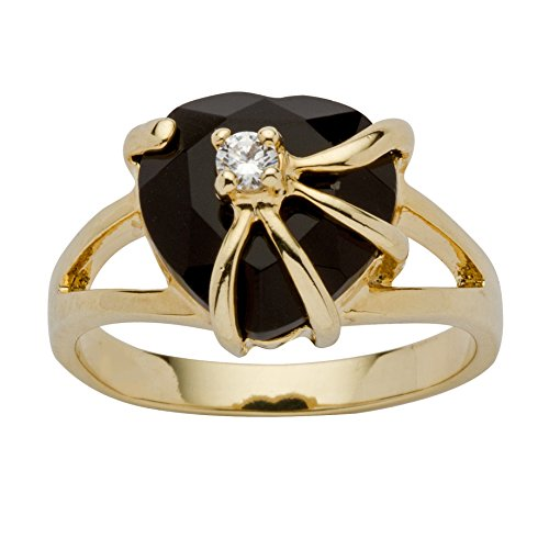 Gold Plated Onyx Ring (Genuine Black Onyx Cubic Zirconia Accent 14k Yellow Gold-Plated Heart Cocktail Ring)