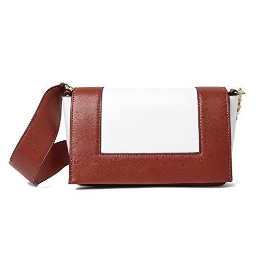 La Women 's Handbag Bag,Arroz blanco gris Brick red with white