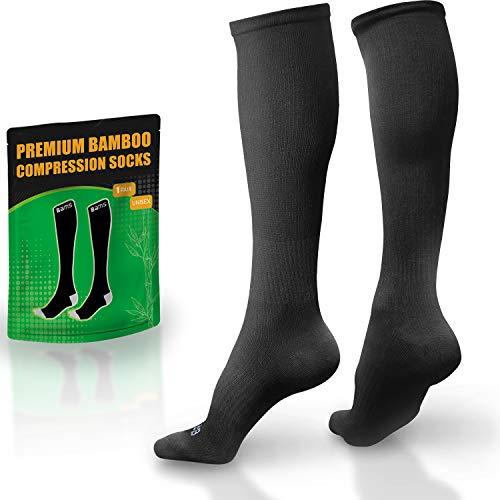 BAMS Premium Bamboo Compression Socks for Men & Women - Graduated 15-20 mmHg (BAMS Jet Black, S/M (Refer to Size Photo))