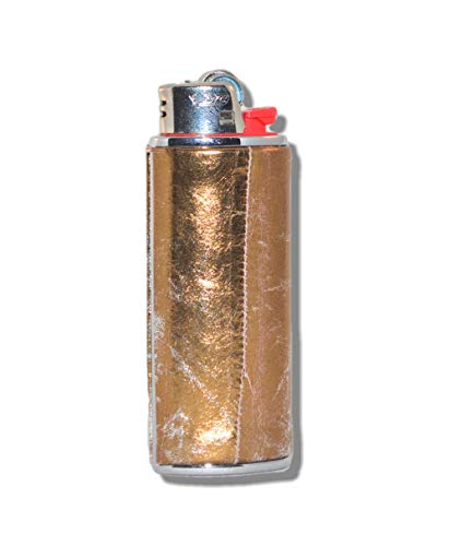 Gold EEL Skin Lighter Cover Sleeve - Silver Metal LCS-7A