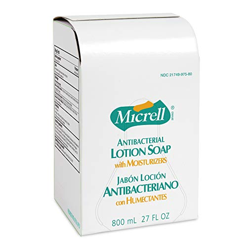 MICRELL Antibacterial Lotion Soap, Gold, 800 mL Soap Refill for MICRELL Bag-in-Box Push-Style Dispenser (Pack of 6) - 9756-06