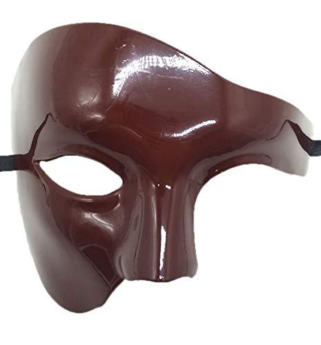 Biruil Phantom of The Opera Masquerade Mask Half Face Venetian Mardi Gras Party Mask (Burgundy)