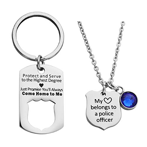 Ankiyabe Police Officer Gift Protect and Serve Dog Tag Keychain My Heart Belongs to a Police Officer Badge Necklace Set Cop Husband Gift from Wife (Special Officer Badge)
