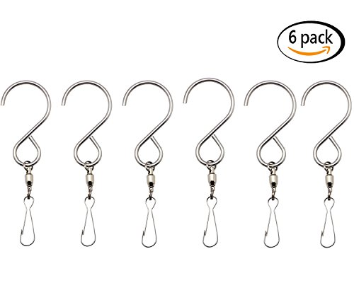 Swivel Hooks Clips Stainless Steel Rotating Display S Hooks for Wind Spinners, Wind Chimes, Crystal Twisters or Party Supply (6 (Steel Rotating Clip)