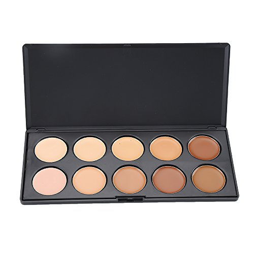 Vodisa 10 Colour Makeup Concealer Palette-Cream Contour Kit- Blemish Face Contouring Highlighter Palette- Sleek Cosmetics Professional Base Foundation Beauty Make up Cream Makeup Blemish ()