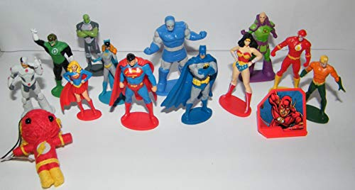 Justice League Deluxe Party Favors Goody Bag Fillers Set of 14 with Figures, Special Doll, ToyRing Featuring Superman, Batman, Wonder Woman, Flash and More! -