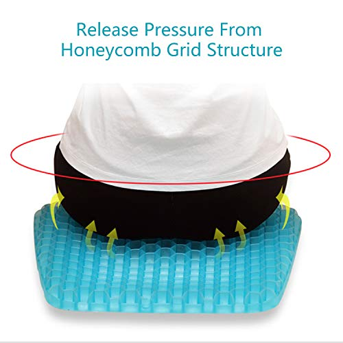 GALYGG Gel Seat Cushion with Non Slip Chair Pad Cover Breathable Honeycomb Prevents Soft Seat Pad Sweaty Bottom for Office Car Wheelchair, Egg Chair Cushion Pain Relieve Fatigue Back, Sciatica, Coccyx by GALYGG (Image #4)
