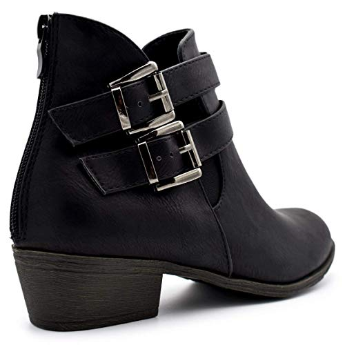 Booties Buckle Black Low Heel Women's Ankle Straps Stacked Moda Top Premium 14 Cl 6RxwvCqF