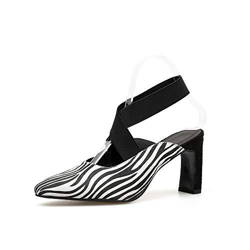 White Sandalias Boca De Huecos Banda Con Elástica Baja Puntiagudas Zapatos Mujer Gruesas Salvaje Y Fengjingyuan fwn6dqwC